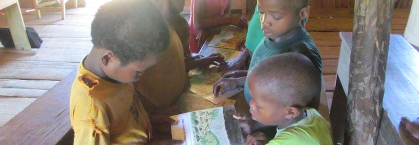 Conservation education with local school children at The Aspinall Foundation's Madagascar primate project