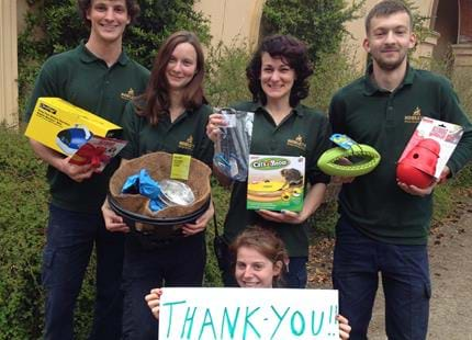 Keepers at Howletts Wild Animal Park thank supporters for animal gifts from our Amazon wishlist