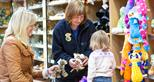 Choosing souvenirs at the gift shop at Howletts Wild Animal Park in Kent
