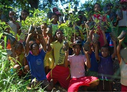 Local community assists with reforestation at The Aspinall Foundation's Madagascar primate project